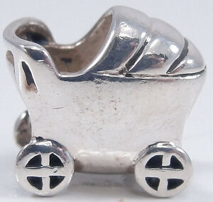 Authentic Chamilia Sterling Silver Baby Carriage Charm Bead Stroller #GA-61