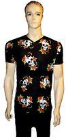 Men's Snake Skull Rose Tatoo Gothic Punk Emo V Neck Top T-Shirt Tee Alternative