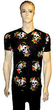 Para Hombre Serpiente Tatoo Gótico Punk Emo Calavera Rosa Top Cuello en V Camiseta Camiseta Alternativa