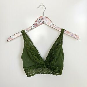 SOMA Rich Green Bralette Lace Plunge Bra! Size S Small