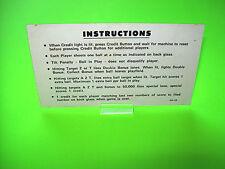 Williams AZTEC 1976 Original Flipper Pinball Machine Instruction Card 2-Sided