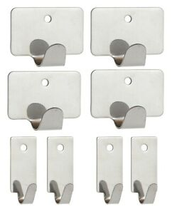 Brackit 8 Pack Stainless Steel Hooks – 2 Size – Self Adhesive – With Screw Holes