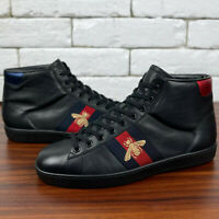 Authentic GUCCI High Top Black Sneaker Web Embroidered Bee 7.5 or 8.5 US 41.5 EU