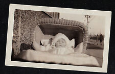 Old Antique Photograph Adorable Baby in Fur Hat Laying in Wicker Carriage