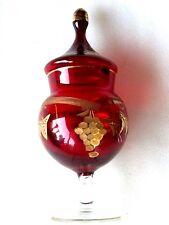 "RUBY RED GOLD GILD LIDDED JAR ITALY BEAUTIFUL 9 1/2"" (24cm)"