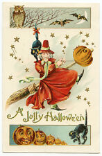 Halloween JOL Broomstick Red Witch Black Cats Bats Owl