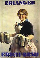 """Vintage Werbeschild """"1926 ERLANGER BIER"""" WERBUNG, ADVERTISING, POSTER, REKLAME"""