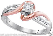 10k White and Rose Gold Two Tone Vintage Style bypass Shank NEW Engagement Ring