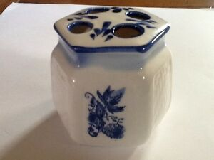 """Toothbrush Holder WHITE and BLUE Genuine Porcelain  3"""" tall 3 1/2"""" wide.  #4/4"""