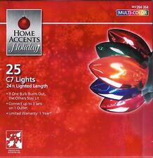 MULTICOLOR TRANSPARENT C7  25 CT STRING LIGHTS ~PARTIES ~ HOLIDAYS  CAMP~RV ~NIB