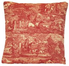 """Red French Toile Cushion Cover Traditional Design Les Veneurs Marvic Fabric 16"""""""