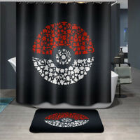 180x180cm Pokemon Balls Bathroom Fabric Waterproof Shower Curtain 12 Hooks