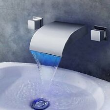 LED Waterfall Bathroom Basin Faucet Dual Handles Vanity Tub Sink Mixer Tap NEW