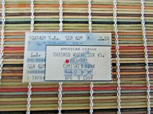 1984 DETROIT TIGERS VS CHICAGO WHITE SOX TICKETS STUB 4/8/84 GIBSON HR
