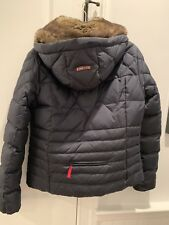BOGNER Fire + Ice real down Blue Puffer Jacket Fur Trim With Hood Size 10