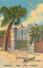 Charleston SC~Henry's Restaurant~Sea Foods~Sea Gull~Wrought Iron~1940s Linen
