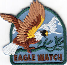 """EAGLE WATCH""- BIRDS - PATRIOTIC - AMERICAN - Iron On Embroidered Patch"