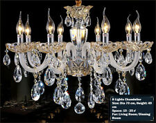 Island 8 Lights Pendant Lamp Champagne Gold Crystal Chandelier Wall Fixtures