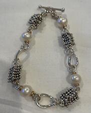 Michael Dawkins Sterling & 14K Rondel Bead Toggle Bracelet w 4 fresh Water Pearl