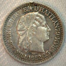 1882 Haiti 10 Centimes Silver Coin XF Extra Fine Rim Damage