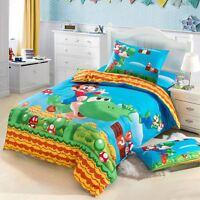 Super Mario Bros Bedding Set Duvet Cover Flat Sheet Pillow Case Twin Size 3pcs