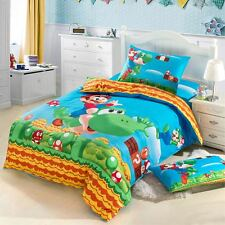Super Mario Bros. Duvet Cover Bedding Set Cotton Kid Quilt Cover Flat Sheet Twin