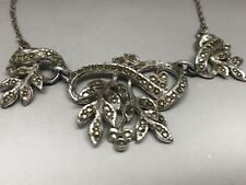 Lovely Old Complex Leaf Marcasite Necklace