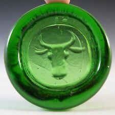 More details for boda vintage swedish green glass bull bowl by erik hoglund