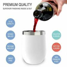 12 oz Wine Tumbler with Lid, Double Wall Stainless Steel Glass Cup Drinks Warm
