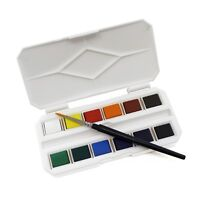 Mini Pocket Watercolour Paint Half Pan Box Set with Travel Brush