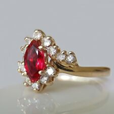 UNHEATED BURMESE Ruby Diamond Engagement Ring 14K Gold Marquise Color RED Fine