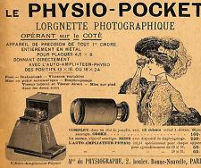 PARIS MAISON DU PHYSIOGRAPHE LORGNETTE PHOTOGRAPHIQUE PUBLICITE 1905