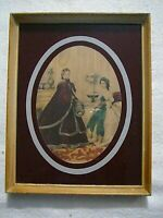 "Antique Victorian 9 1/2"" X 7 1/2"" Print 1800's French Woman & Child Custom Frame"
