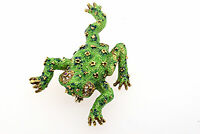 Garavelli Frog Brooch Pin Italy 18k Gold Large Green Enamel Diamond Ruby Eyes