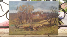 Oil painting Horse with carriage Milianivsky Ukraine Russia USSR 1960