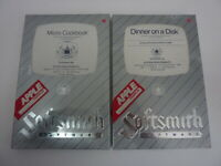 Lot of 2 NEW Apple II IIe - Micro Cookbook & Dinner on a Disk Software - 1982