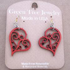Heart in Vines Wine Laser Cut Wood Earrings Green Tree Jewelry COMBINED SHIPPING