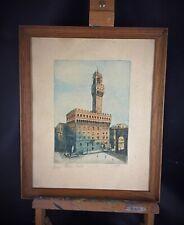 Gravure ancienne XIXème polychrome Palazzo Vecchio - Signée crayon à identifier