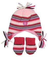 Baby Girls Knitted Peruvian Style Hat & Mitten Gloves Set One Size