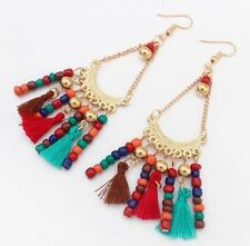 Indian Style Beads Woolen Long Tassels Drop  Earrings Vintage Ethnic Bohemia