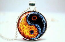 Yin Yang Symbol - Fire and Water - Silver Tone Photo Glass Dome Necklace Pendant