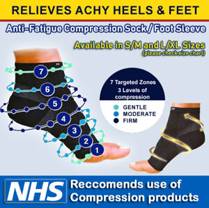 2x Compression Sleeves Socks Plantar Fasciitis Foot Heel Ankle Arch Pain Support