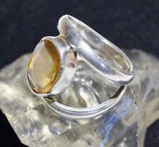 Breit Schlicht Silberring Oval Citrin Handarbeit Gelb Stein Rein Silber Ring 57