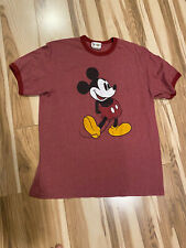 Rare Vtg 90s Walt Disney World Mickey Mouse Plain Logo Red Tshirt Size Medium