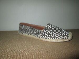 BRIGHTON Rattan Black Floral Espadrilles Slip On Flats Shoes Size 10