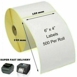 """4"""" x 6"""" (100 x 150mm) Direct Thermal Labels 500 / Postage Labels Roll"""