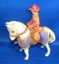 Un raro antico Pelle Pelliccia Coperta Edith Reynolds Pony con TACK e Rider