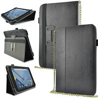 """Universal 7"""" 8"""" Inch Tablet Adjustable Case Chain Shoulder Strap Flip Cover"""