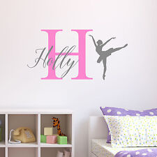 Personalised Ballerina Ballet Wall Sticker Decal Childrens Kids Nursery Bedroom
