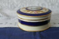 Vintage collectable circular china Trinket pot with Lid Blue & Gold colour